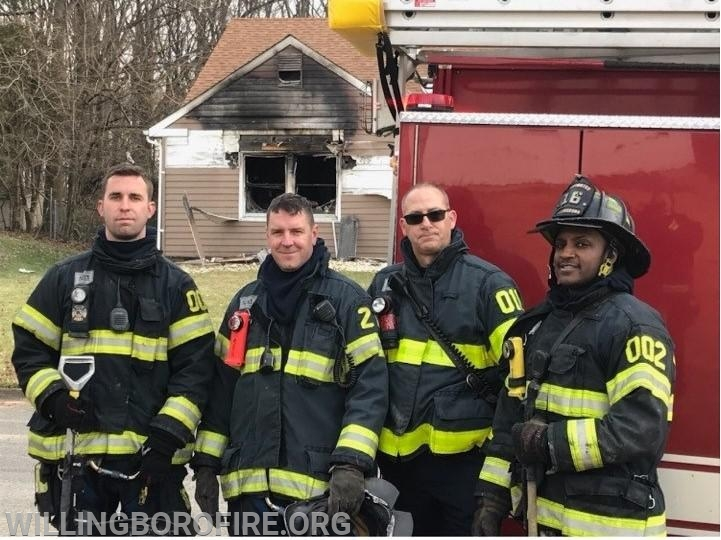 Firefighter Riley, Lieutenant Costello, and Firefighters Anderson and Bowe (L to R)